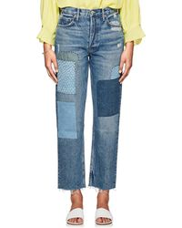 GRLFRND Helena Patchwork Straight-leg Jeans - Blue
