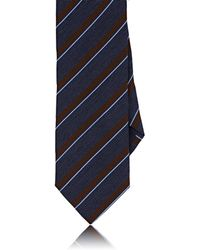 Barneys New York - Striped Basket-weave Silk - Lyst