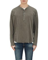 NSF - Distressed Cotton Henley Top - Lyst