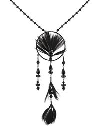 Valentino - Feather-embellished Beaded Necklace - Lyst