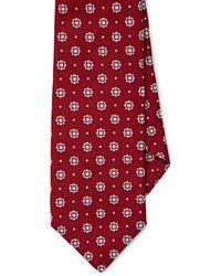 Isaia Medallion-dot Silk Necktie - Red
