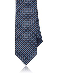 Barneys New York Ombré-ellipse-print Silk Faille Necktie - Blue