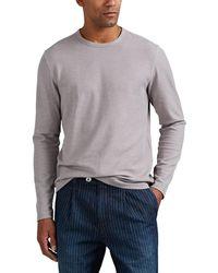 Barneys New York - Waffle-knit Cotton-blend Long-sleeve Shirt - Lyst