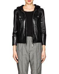 Helmut Lang Hooded Glazed Leather Jacket - Black