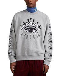 KENZO Eye-embroidered Cotton Terry Sweatshirt - Gray