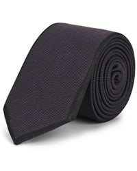 Title Of Work Textured-weave Silk Necktie - Gray