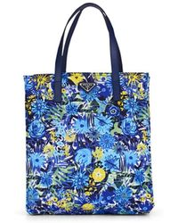 Prada Leather-trimmed Floral Shopping Tote Bag - Blue