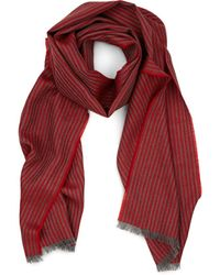 Barneys New York Thin-striped Wool Scarf - Red
