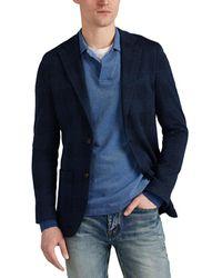 Eleventy Plaid Cotton Ponte Two-button Sportcoat - Blue