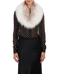 Barneys New York Fox Fur Collar Scarf - Black