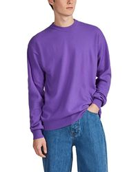CALVIN KLEIN JEANS EST. 1978 Logo-back Wool-cashmere Crewneck Sweater - Purple