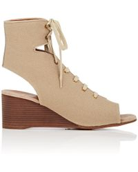 Chloé Canvas Wedge Gladiator Sandals - Natural