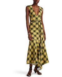 Derek Lam Plaid Cotton-wool Jacquard Midi-dress - Yellow