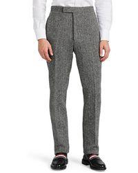 Thom Browne - Herringbone Wool Tweed Slim Trousers - Lyst