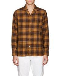 Officine Generale Plaid Cotton Flannel Shirt - Brown