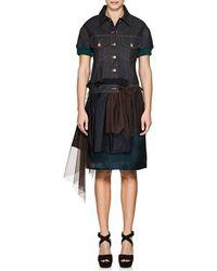 Kolor - Mixed-media Denim Short-sleeve Dress - Lyst