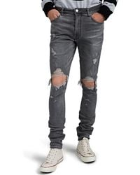 Amiri Thrasher Distressed Skinny Jeans - Gray