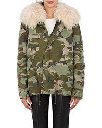 Mr & Mrs Italy - Fur-trimmed Camouflage Cotton Mini - Lyst