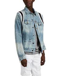 Amiri Distressed Denim Varsity Trucker Jacket - Blue