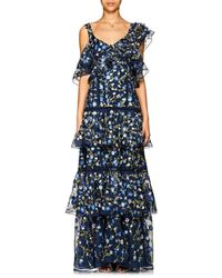 Prabal Gurung Embroidered Silk Organza Gown - Blue