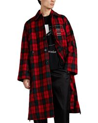 Undercover logic Memory Centre Plaid Crinkled Wool Coat - Red