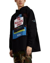 Vetements Patchwork-graphic Cotton Oversized Hoodie - Black