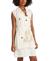 10 Crosby Derek Lam Striped Silky Twill Utility Dress - White