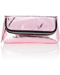 Barneys New York Leather Foldover Pouch - Pink
