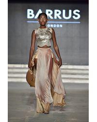 Barrus London Chiffon Skirt With Slit - Multicolour