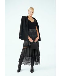 Barrus London French Lace Detailed Faux Leather Skirt - Black