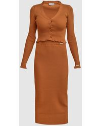 Barrus London Knit Midi Skirt - Orange
