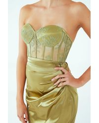 Barrus London French Lace Bustier And Front Slit Skirt - Green