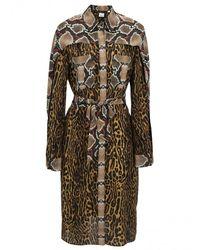 Burberry Costanza Animal-print Silk-crepe Shirt Dress - Brown