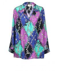 Gucci GG Diamond Print Blouse - Purple