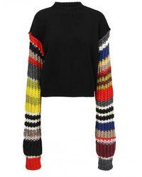 Colville Striped Sleeve Sweater - Black