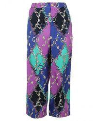 Gucci Rhombus And Gg-print Silk-satin Trousers - Purple