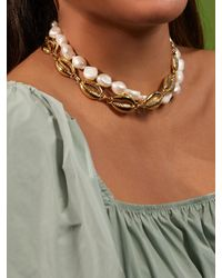BaubleBar Lacey Pearl Statement Necklace - White