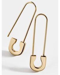 BaubleBar Spillo 18k Gold Vermeil Safety Pin Earrings - Metallic