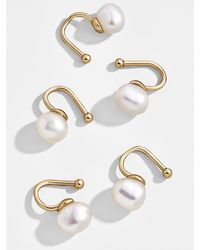 BaubleBar Aleah Pearl Ear Cuff Set Of 5 - Metallic