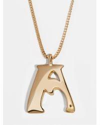 BaubleBar Angela Initial Pendant Necklace - Metallic