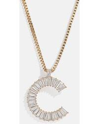 BaubleBar Baguette Initial Necklace - Metallic