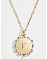 BaubleBar Sol Initial Pendant Necklace - Metallic