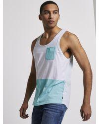 Tom Tailor Denim Kurzarmshirt Top im Color-Block Artdesign - Blau
