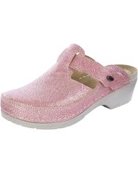heine home Hausschuh Clog Shiny mit glänzender Oberfläche - Pink