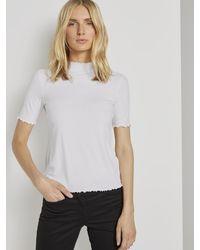 Tom Tailor T-Shirt Geripptes T-Shirt mit Stehkragen - Weiß