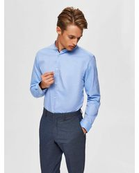 SELECTED Langarmhemd SLIM MARK SHIRT - Blau