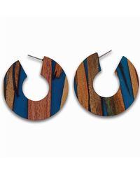 J.Jayz JJayz Paar Creolen rund breites Design - Blau