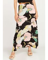 Apricot Maxirock Pond Abstract Floral Maxi Skirt - Schwarz