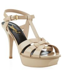 Saint Laurent Tribute Patent Sandal 75 - Lyst