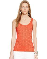 Ralph Lauren Black Label Cable-knit Silk Tank - Lyst